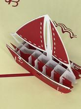 Handmade 3D Kirigami Card  with envelope  Sailboat