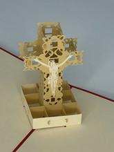 Handmade 3D Kirigami Card  with envelope  Cross