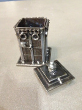 "Mini Tardis Dr Who  Handcrafted Found Art  Size: 4""H x 2.5""D x 2.5""W  Weight: 1.0 lb  Moving Parts: Top comes off for storage"