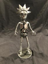 """Handcrafted Found Art  Rick from Rick and Morty  Size: 9""""H x 4""""D x 5""""W  Weight: 1.0 lb"""