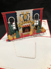 Christmas Fireplace Red Handmade 3D Kirigami Card