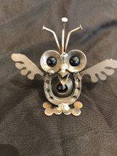 Handcrafted Found Art   Baby Owl  4x4x3