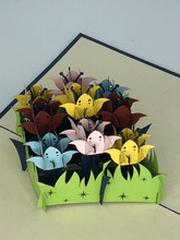 Handmade 3D Kirigami Card  with envelope  Flower Bunch