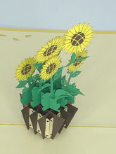 Handmade 3D Kirigami Card  with envelope  Yellow Sunflower