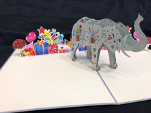 Handmade 3D Kirigami Card  with envelope  Birthday Elephant