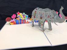 Handmade 3D Kirigami Card  with envelope  Birthday Elephant