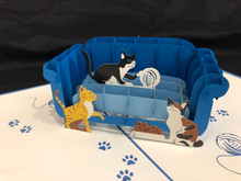 Handmade 3D Kirigami Card  with envelope  Cat Couch