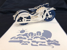 Handmade 3D Kirigami Card  with envelope  Blue Motorcycle