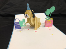 Handmade 3D Kirigami Card  with envelope  Dog Birthday