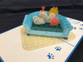 Handmade 3D Kirigami Card  with envelope  Dog Birthday Couch