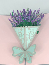 Handmade 3D Kirigami Card  with envelope  Lavender Bouquet