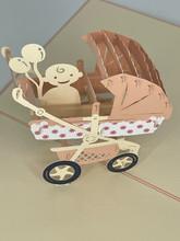 Handmade 3D Kirigami Card  with envelope  Pink Girl Baby Stroller Pram