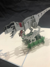 Handmade 3D Kirigami Card  with envelope  Trex Dinosaur Dad