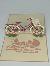 Handmade 3D Kirigami Card  with envelope  Girl's Bike