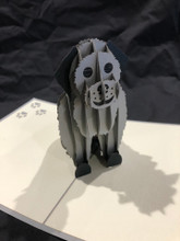 Handmade 3D Kirigami Card  with envelope  Gray Dog