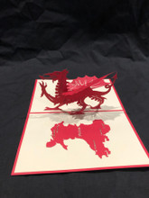 Handmade 3D Kirigami Card  with envelope  Wales Dragon