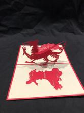 Handmade 3D Kirigami Card  with envelope  Wales Dragon