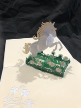 Handmade 3D Kirigami Card  with envelope  White Horse