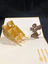 Handmade 3D Kirigami Card  with envelope  Mouse and Cheese