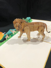 Handmade 3D Kirigami Card  with envelope  Lion