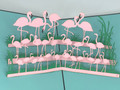 Handmade 3D Kirigami Card  with envelope  Flock of Flamingos