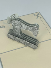 Handmade 3D Kirigami Card  with envelope  Sewing Machine Quilting