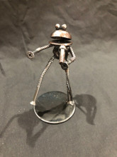 Handcrafted Found Art  Frog Singer  4 x 2 x 2
