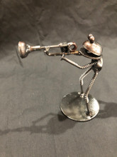 Handcrafted Found Art  Frog Trombone  4 x 4 x 2