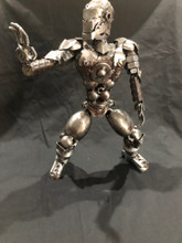 Handcrafted Found Art    Large Ironman  12 x 6 x 4