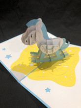 Handmade 3D Kirigami Card Blue Rocking Horse