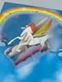 Handmade 3D Kirigami Card  with envelope  Unicorn Rainbow