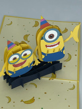 Handmade 3D Kirigami Card  with envelope  Minion Birthday