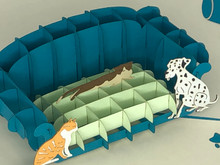 Handmade 3D Kirigami Card  with envelope  Pet Sofa Couch Dog Cat
