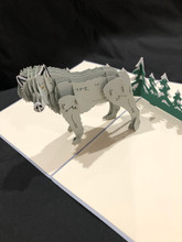 Handmade 3D Kirigami Card  with envelope  Wolf