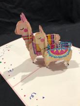 Handmade 3D Kirigami Card  with envelope  2 Llamas
