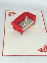 Handmade 3D Kirigami Card  with envelope  Christmas Pets on Couch Sofa Dog Cat