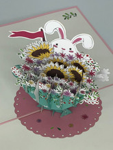 Handmade 3D Kirigami Card  with envelope  Easter Bunny