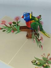 Handmade 3D Kirigami Card  with envelope  Lorikeet Bird