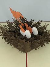 Handmade 3D Kirigami Card  with envelope  Robin Bird's Nest