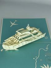 Handmade 3D Kirigami Card  with envelope  Cruise Ship