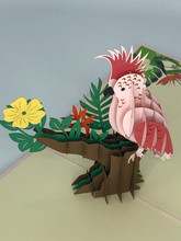 Handmade 3D Kirigami Card  with envelope  Pink Cockatoo Bird