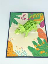Handmade 3D Kirigami Card  with envelope  Triceratops Dinosaur