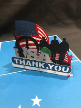 Handmade 3D Kirigami Card  with envelope  USA Thank You