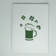 Handmade 3D Kirigami Card  with envelope  St Patrick's Day Beer Shamrock