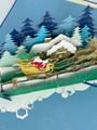 Handmade 3D Kirigami Card  with envelope  Christmas Santa's Sleigh