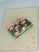 Handmade 3D Kirigami Card  with envelope  Flamingo Birthday