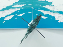 Handmade 3D Kirigami Card  with envelope  Military Helicopter