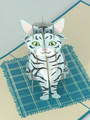 Handmade 3D Kirigami Card  with envelope  Striped Cat