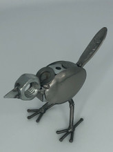 Handcrafted Found Art  Metal Bird  6 x 3 x 3