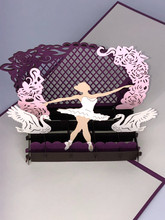 Handmade 3D Kirigami Card  with envelope  Ballerina